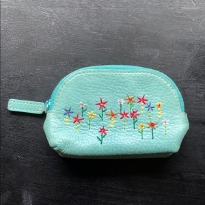 Fossil Coin Pouch with Floral Embroidery